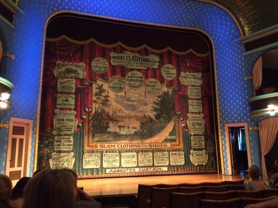 Stoughton Opera House: classy vintage curtain and cobalt blue 'arch'