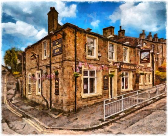 The bridge norden: The Bridge Inn, Norden, Rochdale. Painting © 2012 Peter Topping, Paintings from Pictures