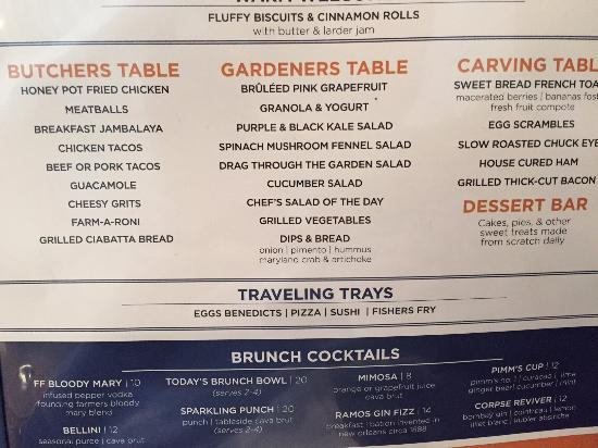 Brunch menu picture of farmers fishers bakers washington dc