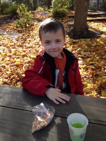 North Easton, MA: Having a snack