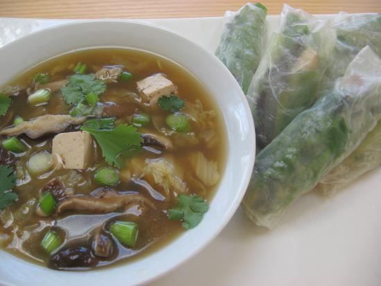 Belfast, ME: Shiitake Mushrooom and Noodle Soup WIth Spring Rolls