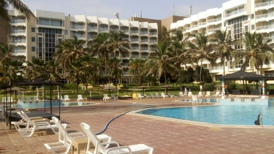 King Fahd Palace: view of the hotel from swimming pool