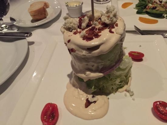 The Restaurant at White Buffalo Club: Impressive and tasty- cylindrical Wedge Salad at the White Buffalo Club