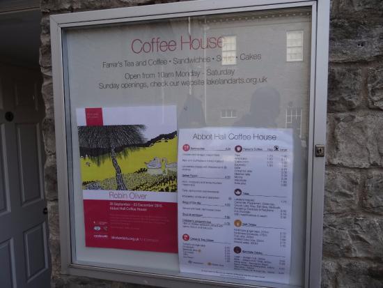 Kendal, UK: Coffee House menu