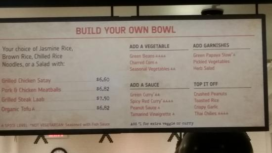 Make Your Own Bowl Menu Picture Of Shophouse Southeast Asian