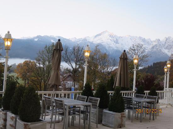 Beautiful Mountain View From Hotel Lobby Balcony Picture Of Grand Hotel Sonnenbichl Garmisch Partenkirchen Tripadvisor