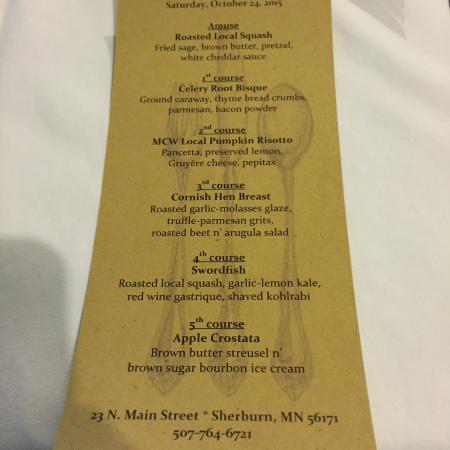 Sherburn, MN: The Tasting Menu