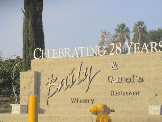 Baily Winery: Bailey Winery and Carol's Restaurant, Temecula, Ca - Celebrating 28 Years