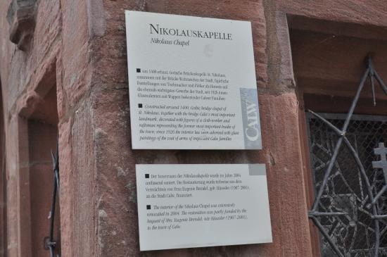 Nikolauskapelle: the plaque