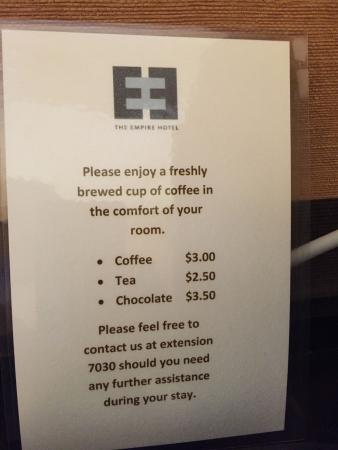 Empire Hotel: The coffee