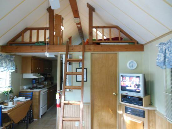 Tiger, GA: living area, loft and kitchen