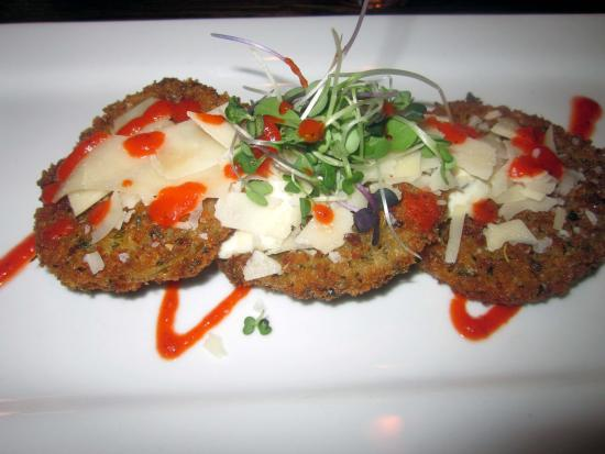 Bedford, PA: Fried Green Tomatoes w/ Herbed Goat Cheese & Roast Pepper Coulis