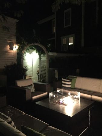 76 Main Nantucket: Gathering area in back - evening