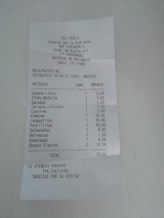 virar dieta Sabor  Tique para 4 comensales: fotografía de Restaurante Bar Perla, Sanlúcar de  Barrameda - Tripadvisor