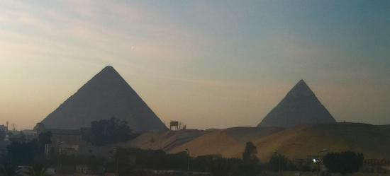 View of Pyramids with first morning light (basic pyramids view room close to street).