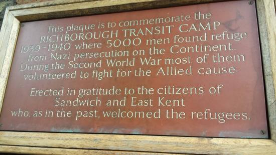 Sandwich Toll Bridge & Barbican: Refugee Plaque