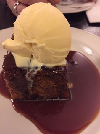 Duke of Marlborough : Gluten free sticky foggy pudding with butterscotch sauce and vanilla ice-cream