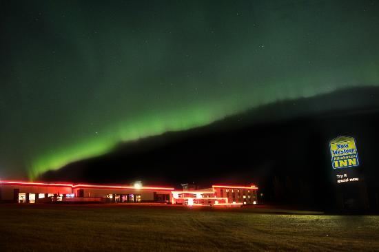 Athabasca, Canada : Hotel shot with Auroa above