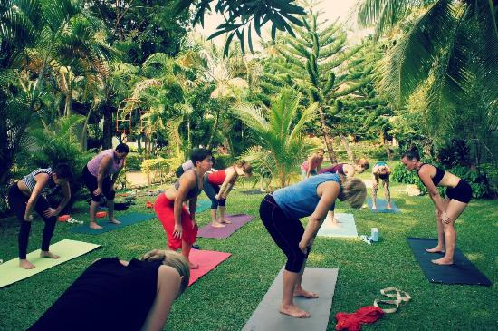 Awesome T.K. Green Garden Hotel: My Girls Doing Yoga In The Garden