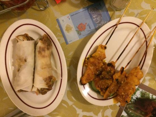 Jenny's Kuali: Malaysian spring roll, and chicken satay