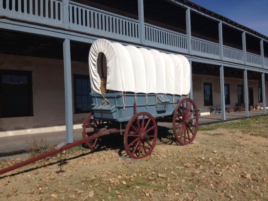 Fort Laramie, WY: Wagon by barracks
