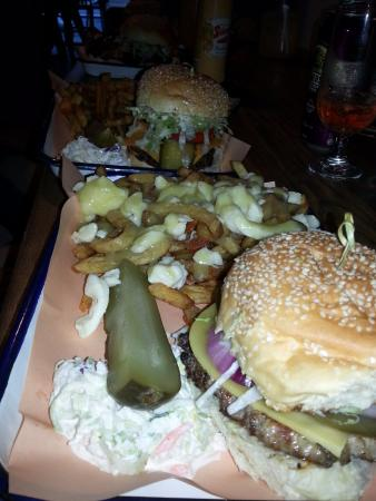 Chuck's Burger Bar: Four of the ridiculously amazing burgers.