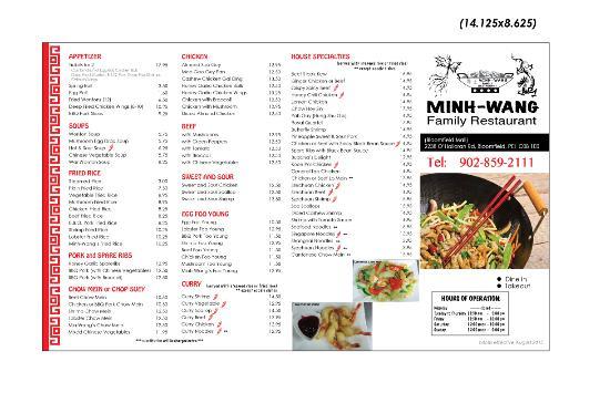 Bloomfield, Canada: The menu