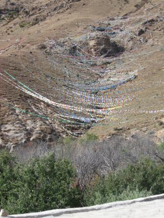 Pabangka Monastery : prayer flags cover hillside