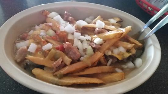 Famous Pueblo Slopper Smothered In Green Chili And Fries Picture Of Gray S Coors Tavern Pueblo Tripadvisor