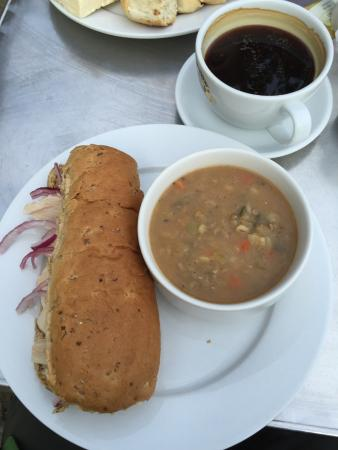 Swell Cafe Bar: Scotch Broth and Chicken/chilli sauce roll