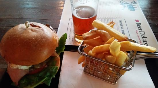 burger,fries and beer