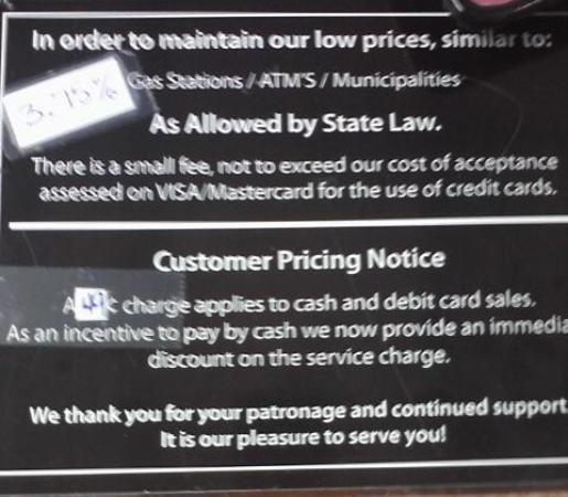 Kawkawlin, MI: Credit Card Upcharge Notice
