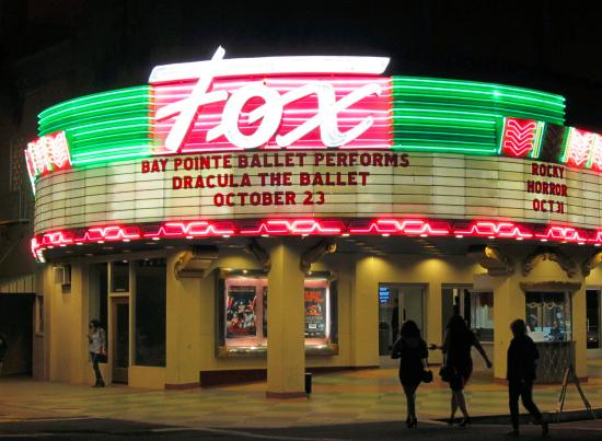 Fox Theater facade at night