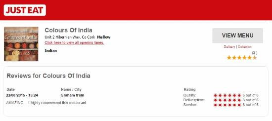 Review On Just Eat Picture Of Colours Of India Mallow