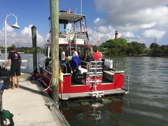 Jupiter, FL: The hard to miss red Kayalami dive boat