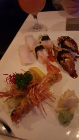 Yume: unagi and white tuna with crispy shrimp heads