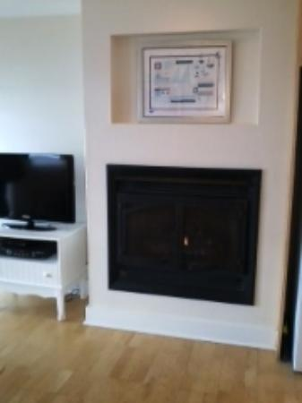 Crow's Nest Resort: gas fireplace and tv in living room of one bedroom unit