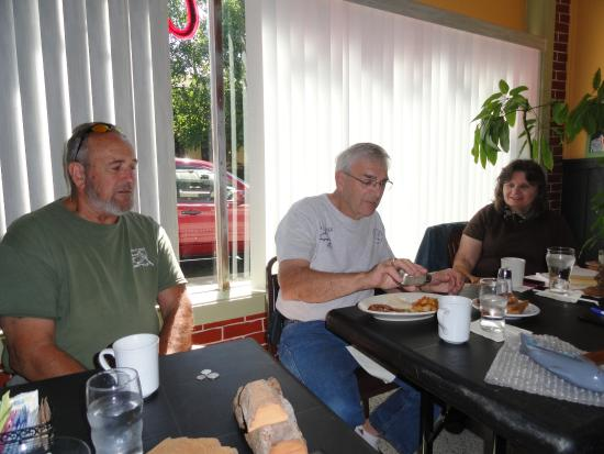 Council Oak Woodcarvers having breakfast and carving in the side room at Javier's Bistro