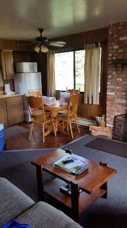 Antler Ridge Resort Cabins: Cozy cabin furnishes everything you need from firewood to corkscrew, and wine glasses!
