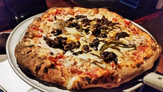 Middle Grove, NY: Wood-fired sausage & pepper pizza.