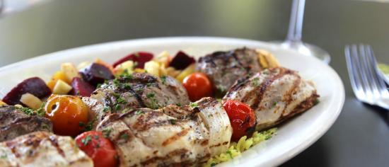 Dishdash: Kufta Kebab minced beef & lamb w/ blended herbs, seasonal vegetables