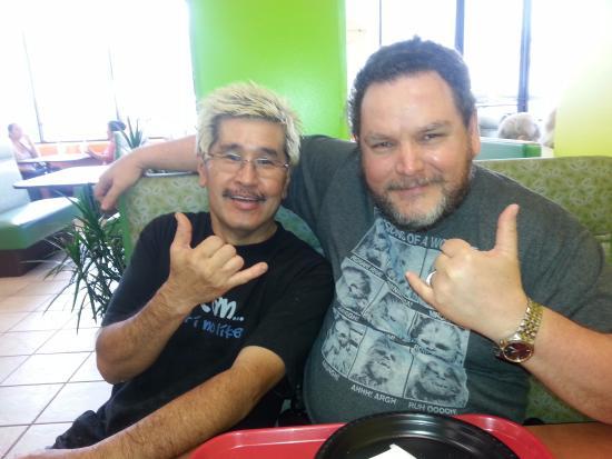 Dean's Drive-Inn: Dean (blond) and dah Hubs in Kaneohe, Oahu HI