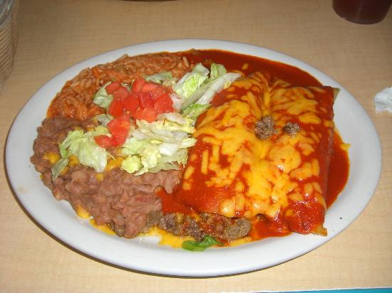 Angelina's Restaurant: Rolled Lamb Enchiladas with Red Chili Sauce