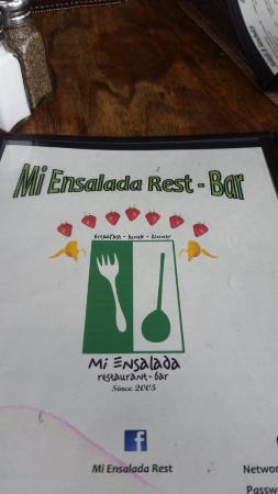 Mi Ensalada Restaurant: Menú