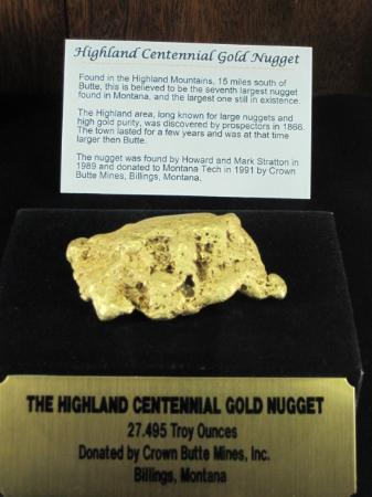 MBMG Mineral Museum : Highland Centennial Gold Nugget