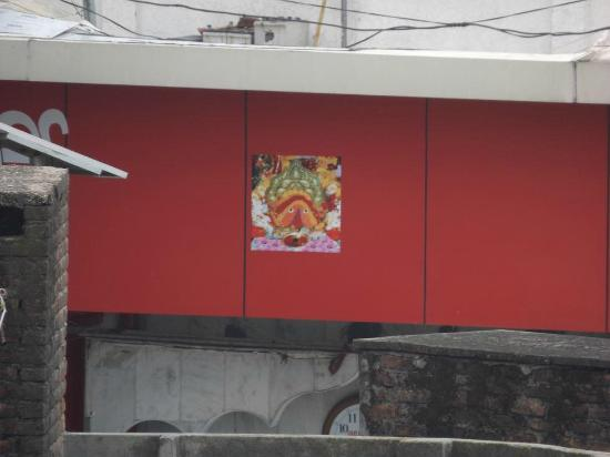 Una, India: Image of Chintpurni ma stuck on side of temple