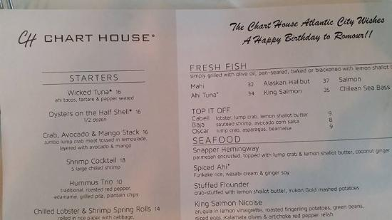Birthday menu picture of chart house atlantic city tripadvisor