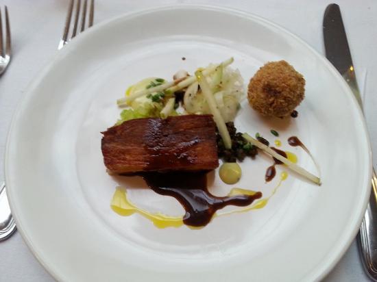 Upperlands, UK: Pork belly with a pork bon bon and apple