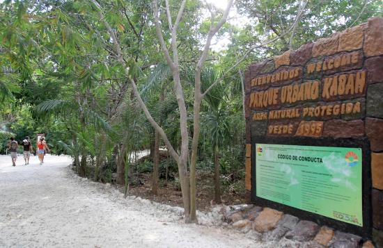 Parque Urbano Kabah: La entrada al parque