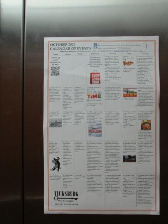 Comfort Suites: Monthly calendar of Vicksburg events in elevator
